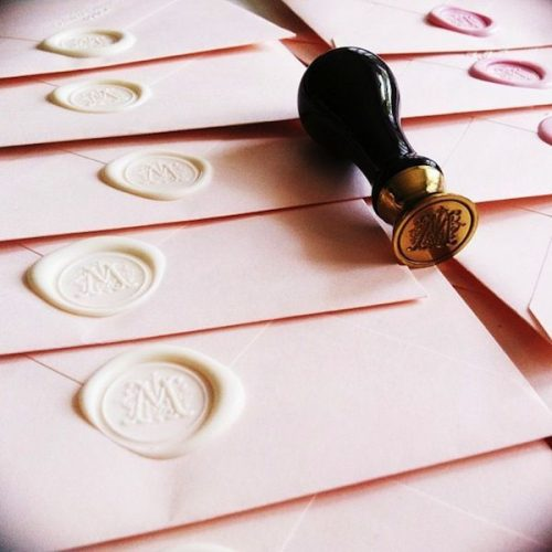 Scroll Initial Wax Seal Kit - Ceramic Handle & Red Sealing Wax